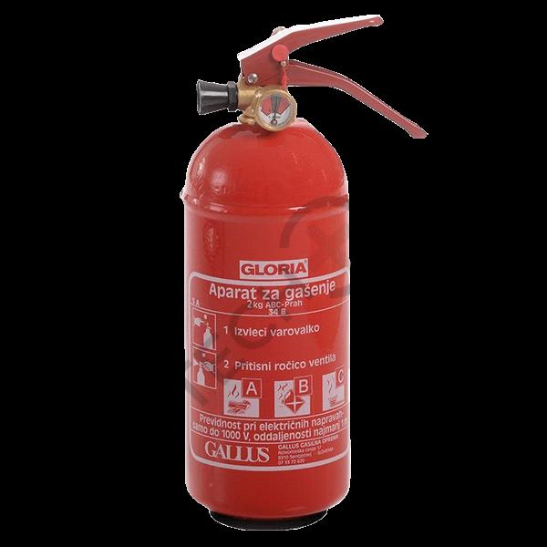 Gasilni aparat Gloria PD s prahom ABC, 2 kg